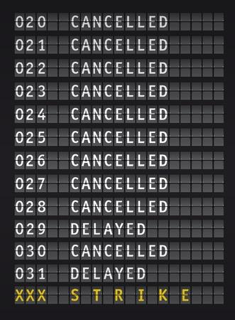 information de vol sur l'aéroport pendant une grève, vecteur Illustration