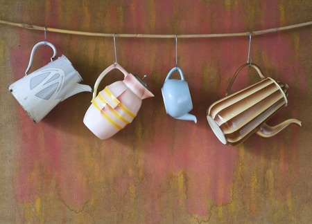 vintage coffee pots, free copy space Stock Photo - 28138529
