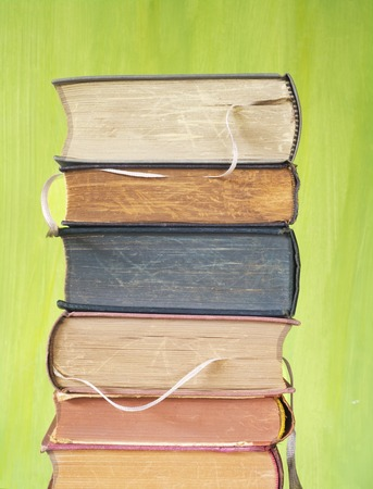stack of old books, close up photo