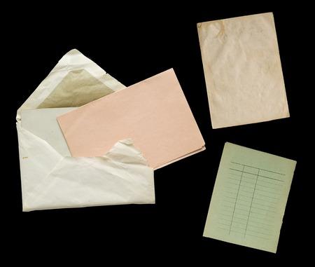 knocked out: objetos de papel vintage, espacio de libre copia, eliminados en el fondo negro
