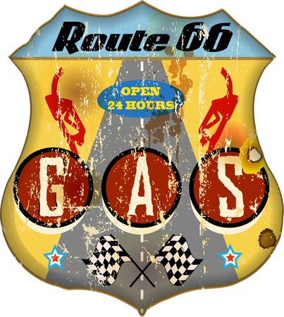 66: route 66 gas station sign,retro style, vector eps 10  Illustration