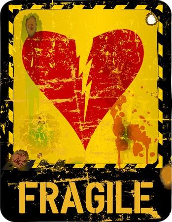 heartbreak: warning sign, heartbreak, love concept  Illustration