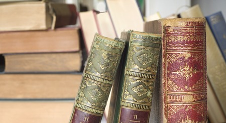 vintage books close up, free copy space photo