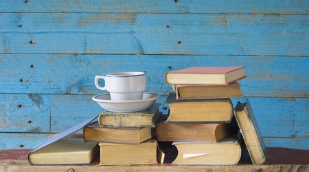 old books and cup of coffee, learning o  literature concept photo