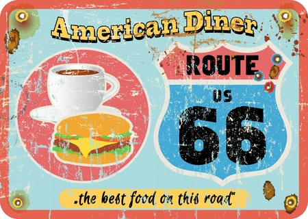 vintage route 66 diner sign, retro style, vector illustration Vector