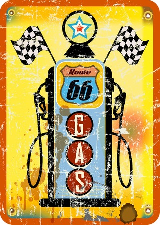 66: vintage retro route 66 gas staion sign, vector illustration