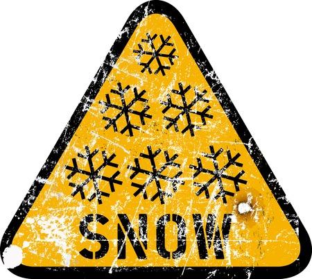 icy: snow warning traffic sign, vector illustration Illustration