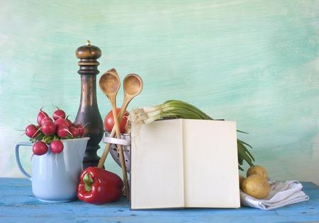 cookbook, vegetables,old kitchen utensils, free copy space
