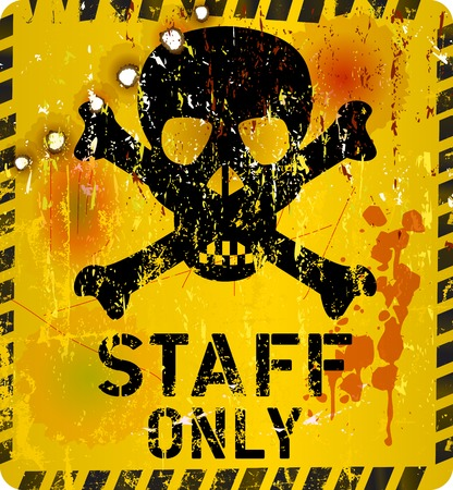 staff only: staff only sign with  bullet holes, vector Illustration