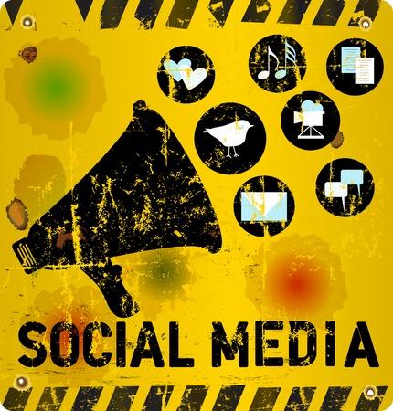 mapas conceptuales: Los medios sociales signo ilustración vectorial