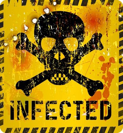 virus informatico: Alerta de virus inform�tico, signo sucio, vector