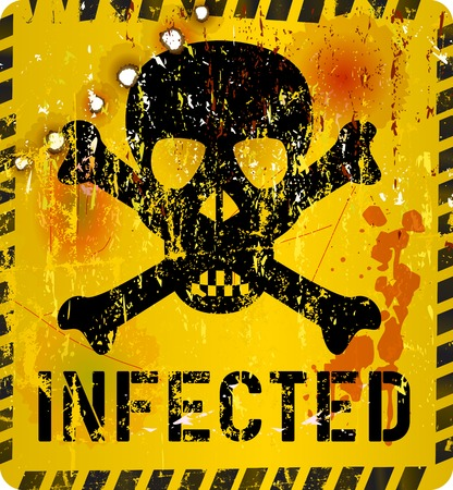 infected: Computer virus alert, grungy sign, vector