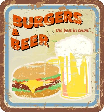 rétro signe de salle à manger, des hamburgers et de la bière, vecteur, copie espace libre Illustration