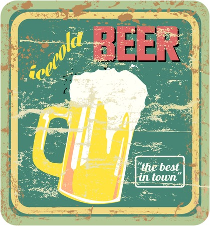retro beer sign, vector, grungy stayle, free copy space