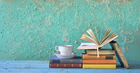 old books and cup of coffee, free copy space photo