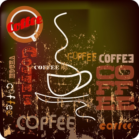 cappucino: retro koffie sjabloon, vrije ruimte voor uw tekst Stock Illustratie