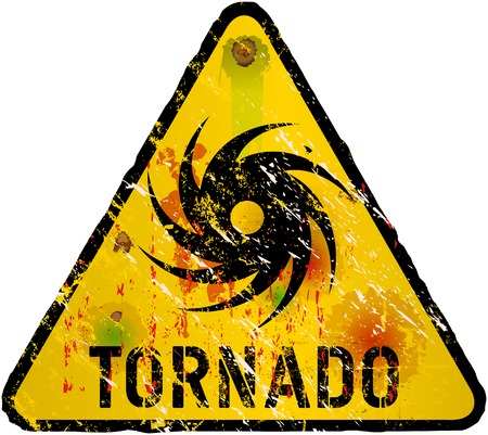 hazard damage: tornado warning sign, heavy weathered, vector eps 10