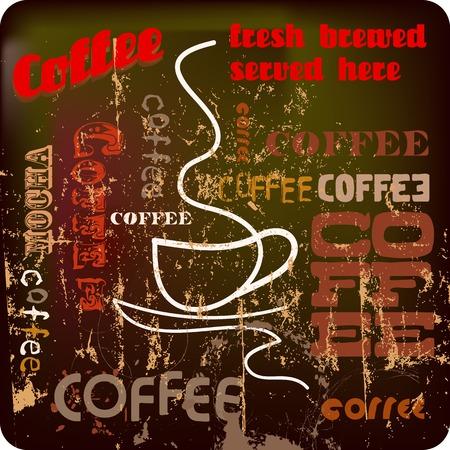 cappucino: retro koffie ontwerp, vector illustratie, gungy stijl