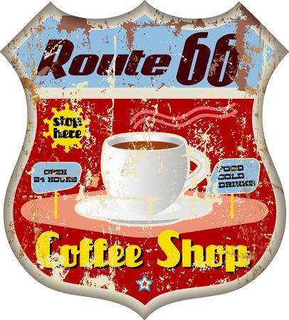 レトロなルート 66 コーヒー店の看板、ベクトル eps 10  イラスト・ベクター素材