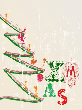 christmas illustration, grungy style, free copy space Vector