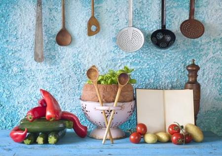 cookbook, vegetables, old kitchen utensils, free copy space Imagens