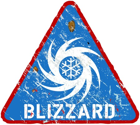 hazard stripes: blizzard warning sign, heavy weathered, vector eps 10