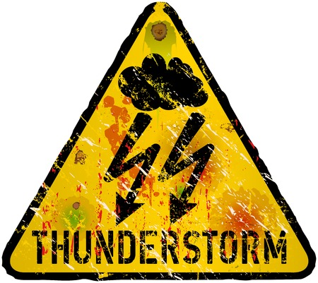 hurricane warning sign, heavy weathered Vector