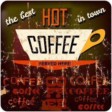 cappucino: retro koffie teken, gratis exemplaar ruimte, vector illustration