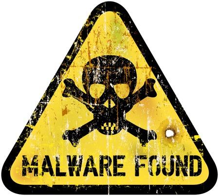 malware or computer virus warning sign, vector illustration