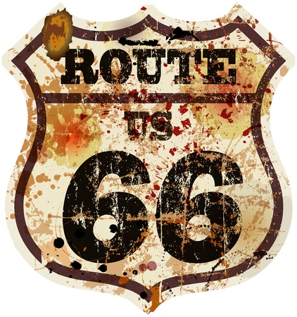 highway signs: vintage route 66 road sign, retro style, vector illustration
