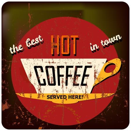 cappucino: retro koffie sjabloon, wolk, vrije ruimte voor uw tekst Stock Illustratie