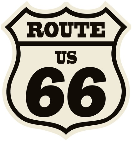 vintage route 66 road sign, retro style, vector illustration