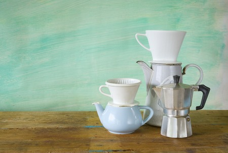 vintage coffee machines, kitchen utensils photo