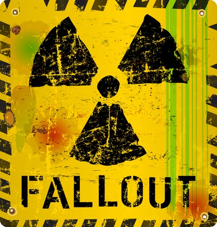 fallout: nuclear fallout warning sign, vector illustration