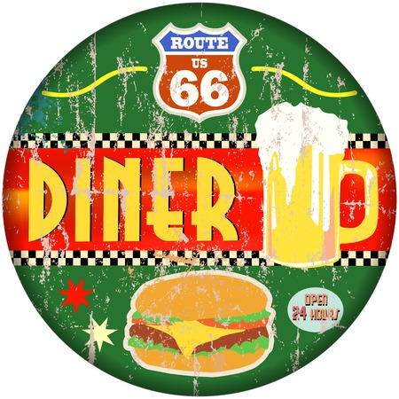retro american route 66 diner sign, vector eps Ilustracja