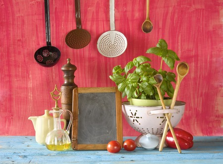 space for copy: slate for cooking recipes, kitchen utensils, food ingredients, free copy space, cooking concept  Stock Photo