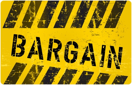 bargain: bargain sign, worn and grungy Illustration