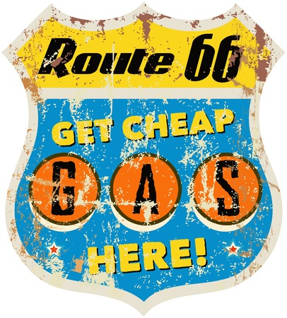 retro route 66 gas station sign Vector