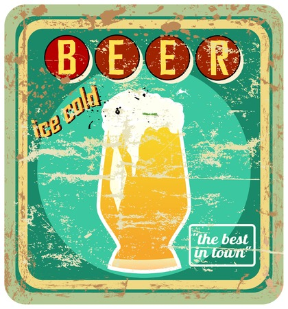 retro beer sign, vector, grungy style, free copy space Vector