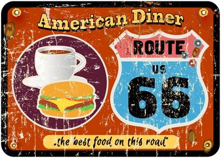 vintage route 66 diner teken, retro-stijl, vector illustratie