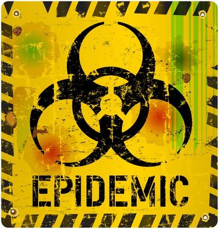 be ill: epidemic, virus alert sign, vector illustration