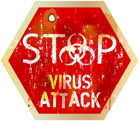 infected: computer virus alert sign, vector illustration