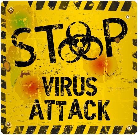 virus alert: computer virus alert sign, vector illustration