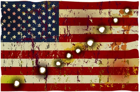 bullet hole: patriotic american Flag perforated,bullet holes, vector illustration
