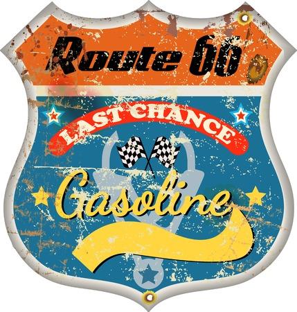 re fuel: retro fuel, gas staion sign, vector illustration Illustration
