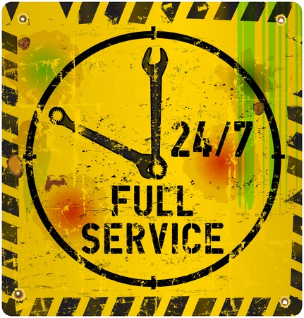 screw key: 24 hours service sign, vector illustration