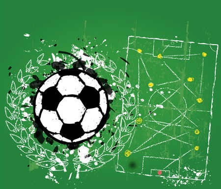 grungy soccer football illustration, vector format, free copy space Vector
