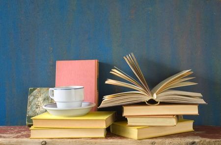 vintage books with a cup of coffee, free copy space