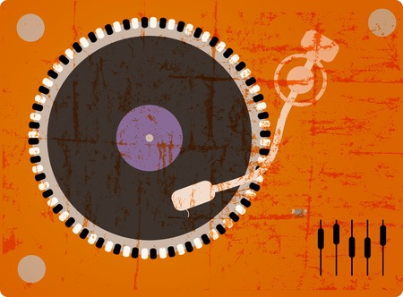 dj turntable, grungy style, free copy space, vector Vector