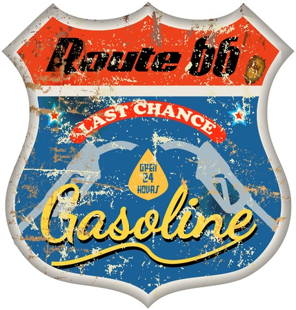 filler: combustible retro, signo Staion gas, ilustraci�n vectorial